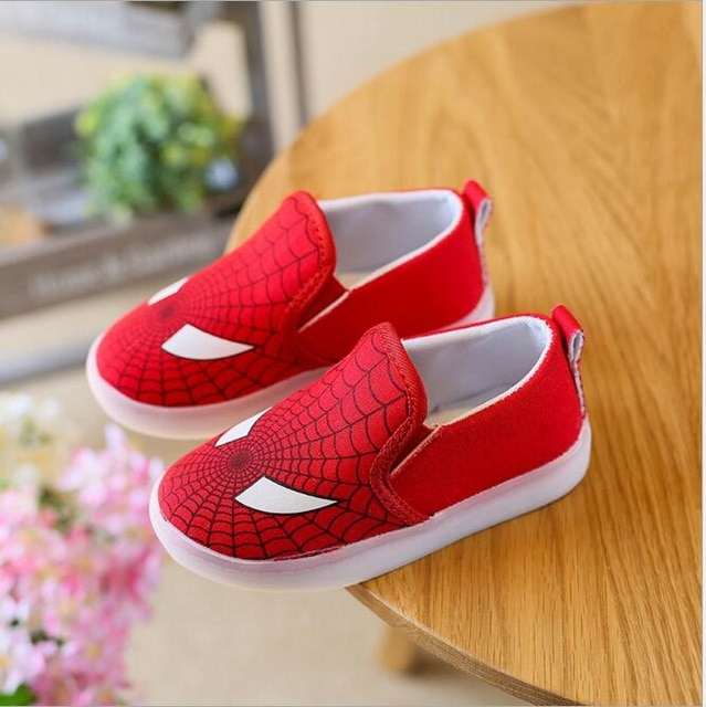 Kids Shoes With Light Boys Led Sneakers New Spring Spider Man Batman
