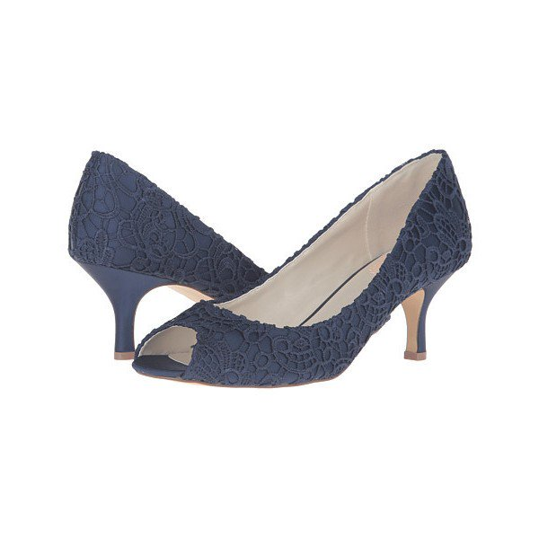 Navy Lace Heels Peep Toe Kitten Heel Pumps for Bridesmaid for