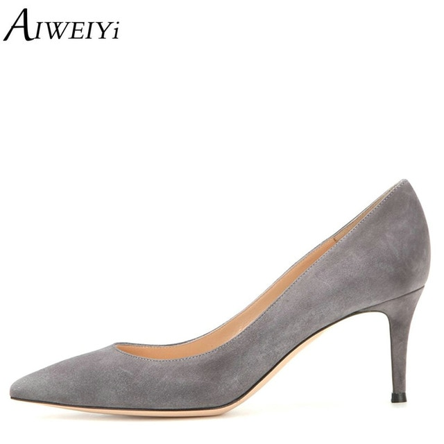 AIWEIYi Women Shoes Med Heels 6.5CM Black Grey Pumps Kitten Heels