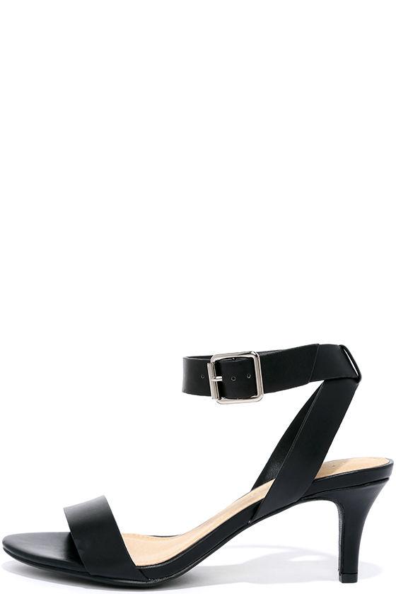 Cute Black Heels - Kitten Heels - Ankle Strap Heels - $21.00