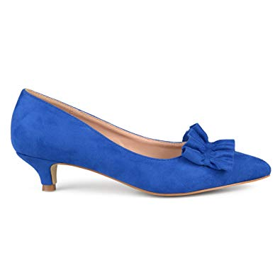 Amazon.com | Brinley Co. Womens Faux Suede Ruffle Kitten Heels | Pumps