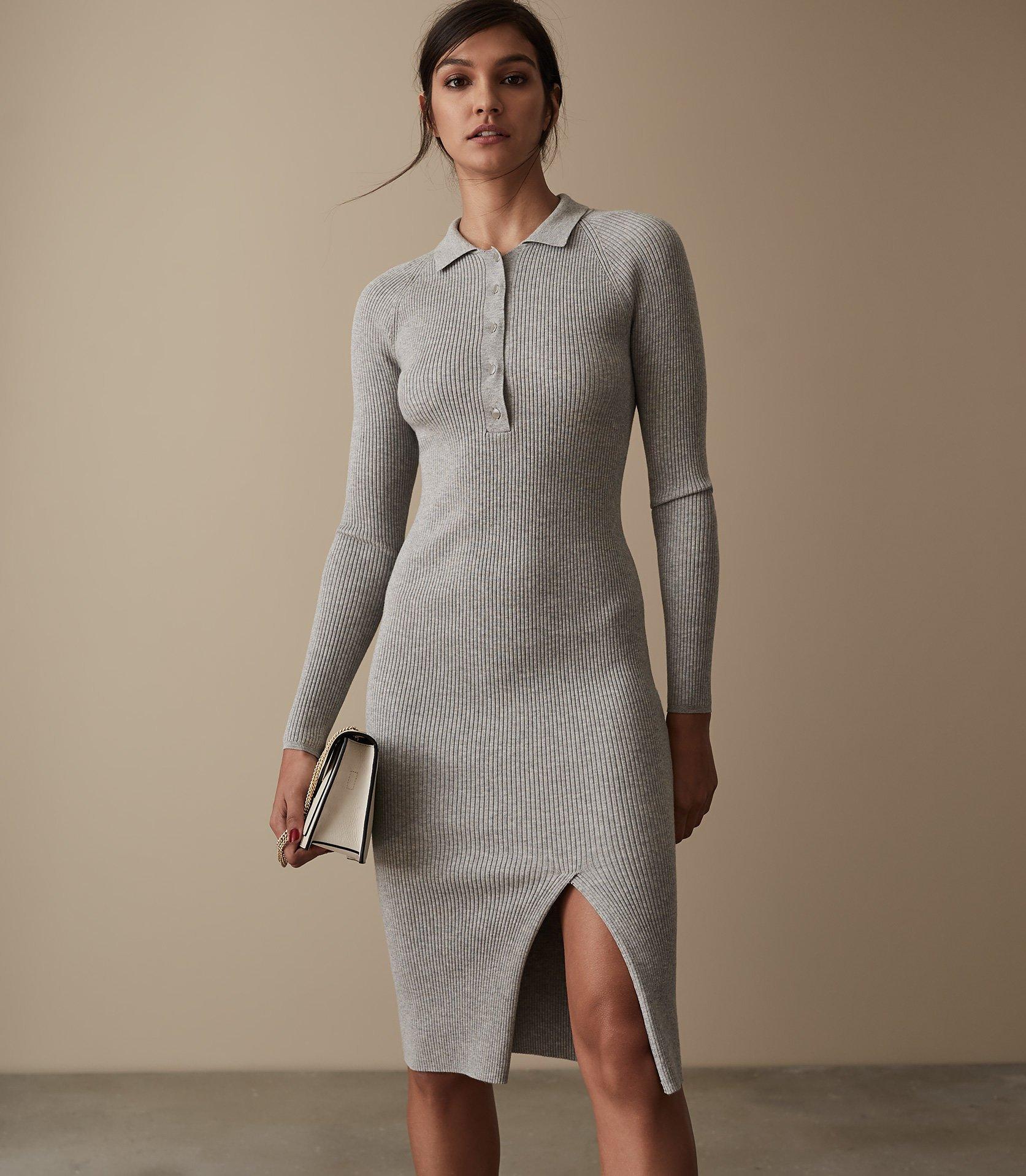 Louise Button Collar Knitted Dress - REISS