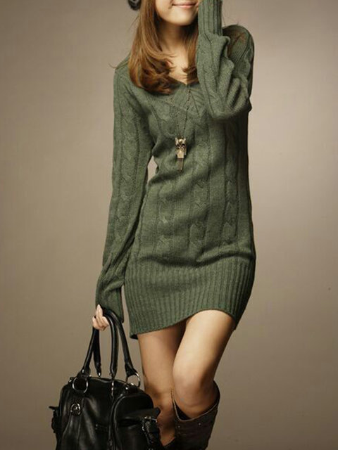 Popjulia V neck Women Dress Daily Dress Casual Knitted Dress