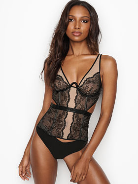 Women's Lingerie - Black, White & Red Lace - Victoria's Secret