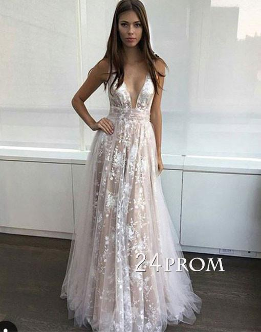 Simple v neck tulle lace long prom dress. lace evening dress u2013 prom24