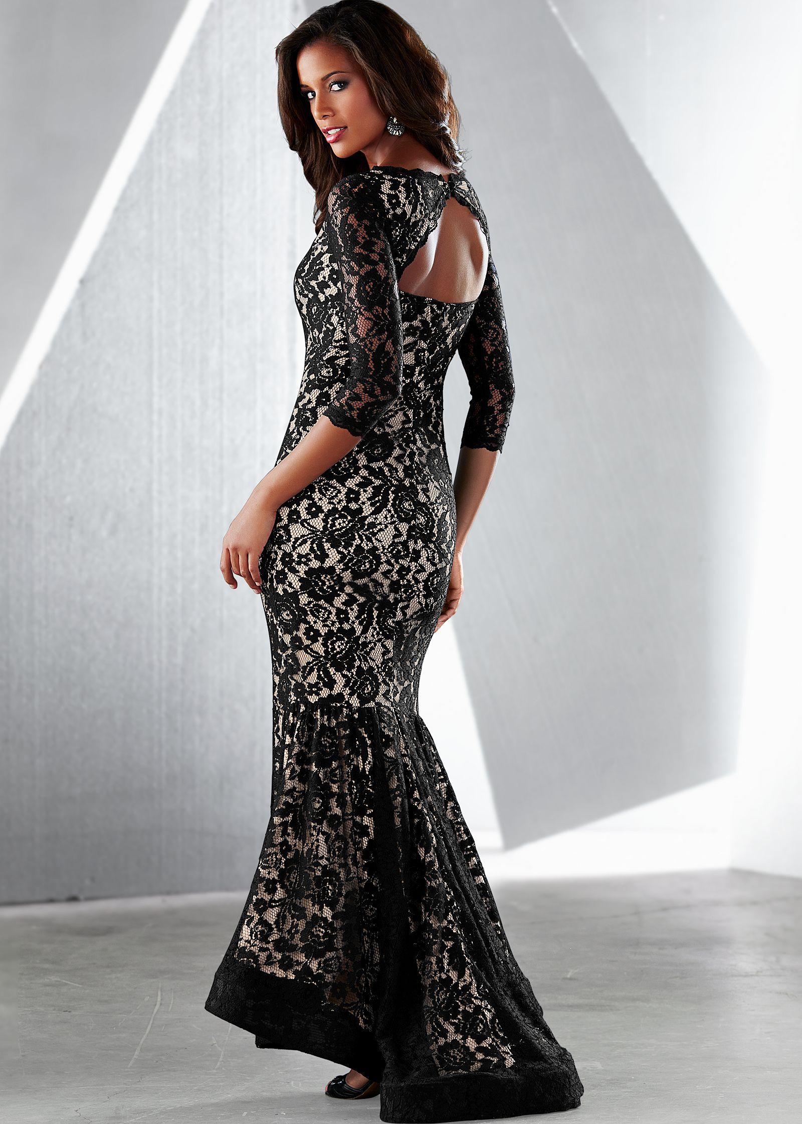 LONG LACE DRESS in Black Multi   VENUS