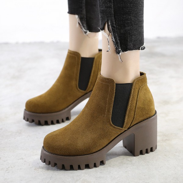 Buy Female Ankle Boots High Quality Leather Shoes Pointed Toe Mid