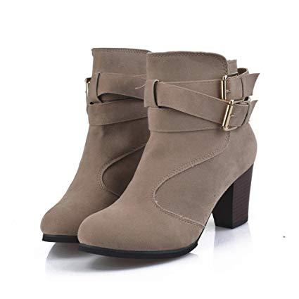 Amazon.com: KaiCran Women Belt Buckle Martin Shoes Ladies Ankle
