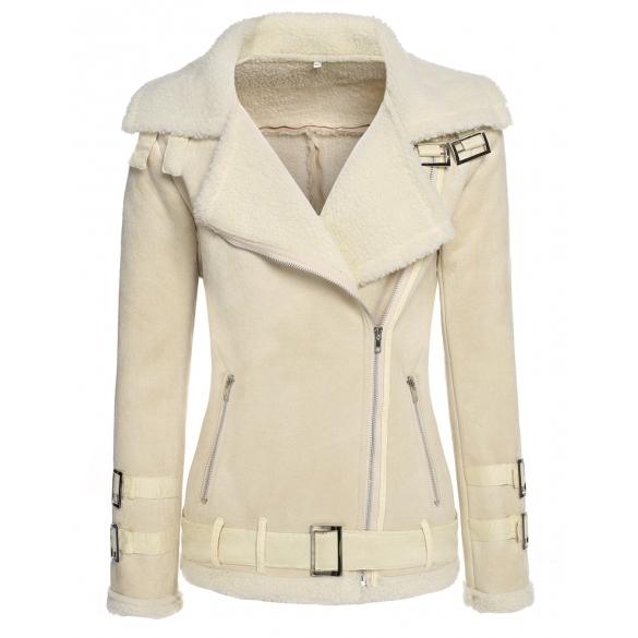 Stylish Ladies Women Long Sleeve Slim Synthetic Leather Fleece Warm