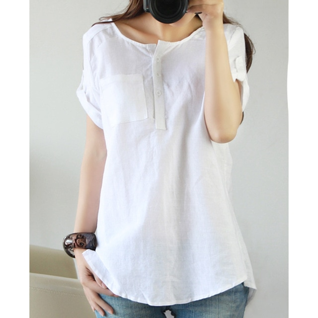 white shirt 2018 summer Short sleeve top women Linen Cotton ladies