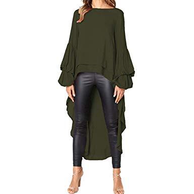 Amazon.com: Auwer-Women Puff Sleeve Baggy Asymmetric Long Tops