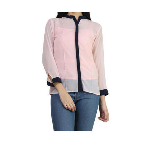 Light Peach, Navy Blue Plain Georgette Ladies Shirt, Rs 299 /piece