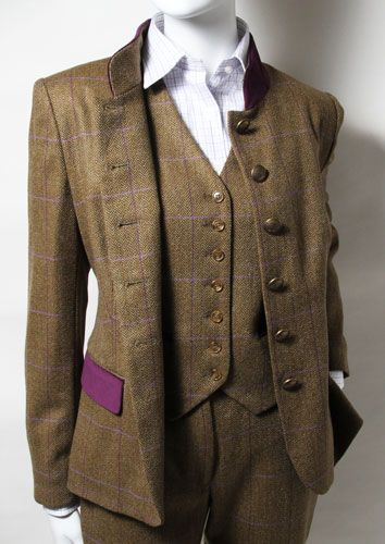Ladies Tweed Suit & Waistcoat. I love the splash of colour on the