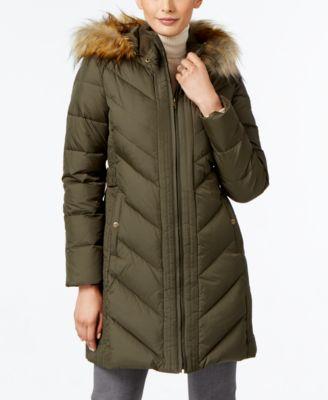 Larry Levine Faux-Fur-Trim Chevron-Quilted Down Coat - Coats - Women