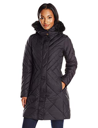 Amazon.com: Larry Levine Women's Mid-Length Down Coat with Hood