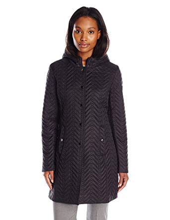 LARRY LEVINE Women's Quilted Jacket with Hood at Amazon Women's