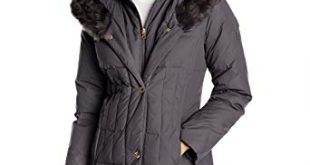 Amazon.com: Larry Levine Women's Down-Filled Coat with Faux Fur