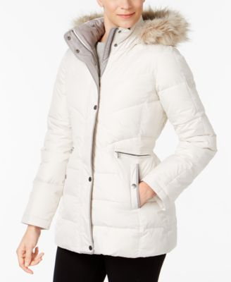 Larry Levine Faux-Fur-Trim Hooded Puffer Coat - Coats - Women - Macy's