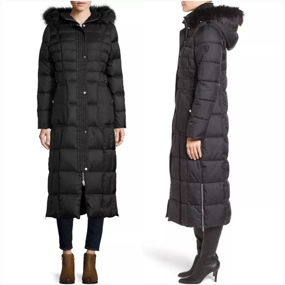 Larry Levine Jackets & Coats | Quilted Maxi Coat With Faux Fur Trim