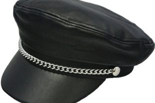 Men's Leather Brando Hats With Chain, USA Made