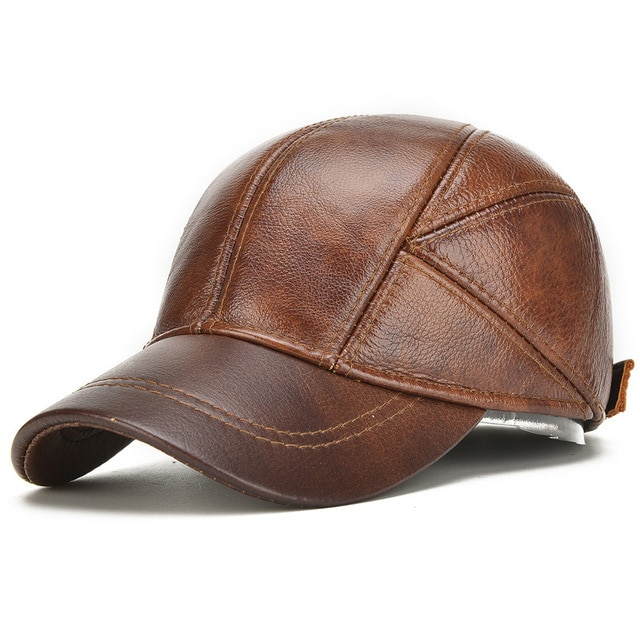 Father Gift Genuine Leather Baseball Cap Grandpa Autumn Winter Warm