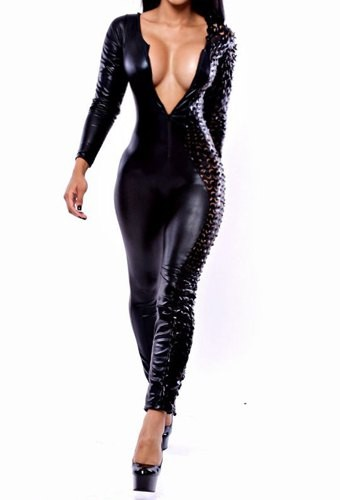 Sexy Long Sleeve Round Neck Hollow Out Design PU Leather Jumpsuit