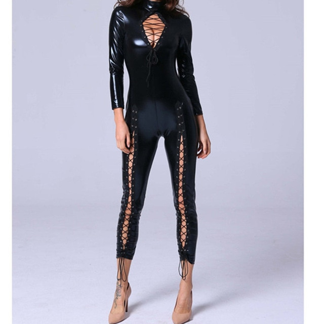 Black PU Leather Jumpsuit Women Backless Hollow Out Skinny Patent