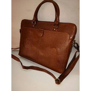 Buy Brown Leather Laptop Bag Online @ u20b91751 from ShopClues