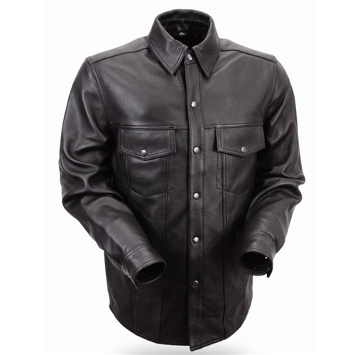Men's Leather Shirts - Biker Riding Shirt Jacket - Free Shipping