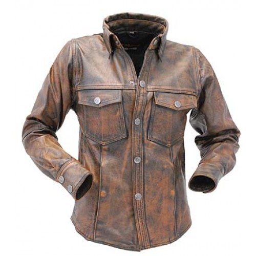 Leather Rider Ladies Vintage Brown Leather Shirt with Gun Pocket