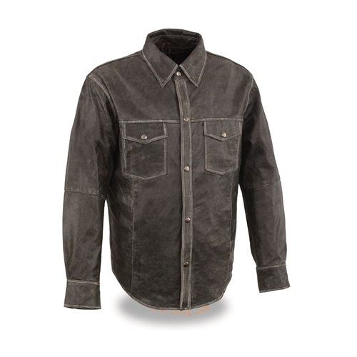 Distressed Gray Milwaukee Leather Shirts - Lightweight Riding Shirt