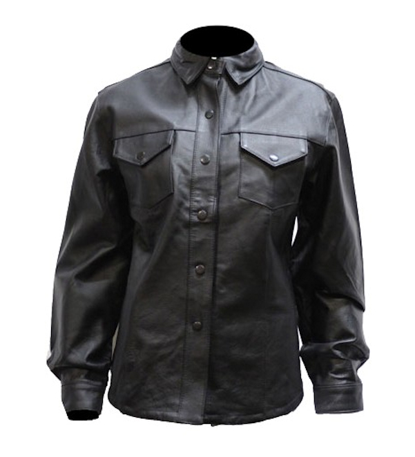 Ladies Button Snap Leather Shirt WLSJ24 u2013 Leather Supreme