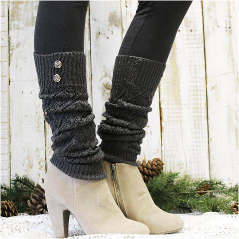 WINTER crochet leg warmers - dark grey | leg warmers for boots | leg