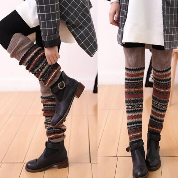 Womens Girls Warm Winter Long Leg Stockings Warmers Knit Crochet