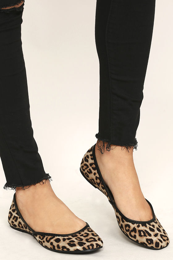 Cute Leopard Flats - Vegan Suede Flats - Ballet Flats - $16.00