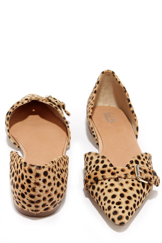 Cute Leopard Flats - Pony Fur Flats - Pointed Flats - $88.00