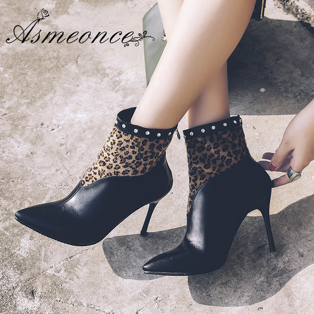 Women Ankle Boots Winter Warm Leather Rhinestone Thin High Heels