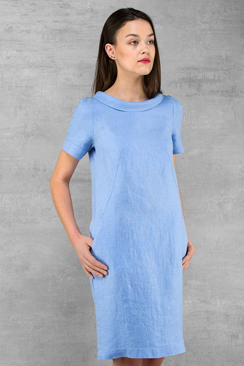 Linen dress, blue colour, softened pre washed linen clothing for