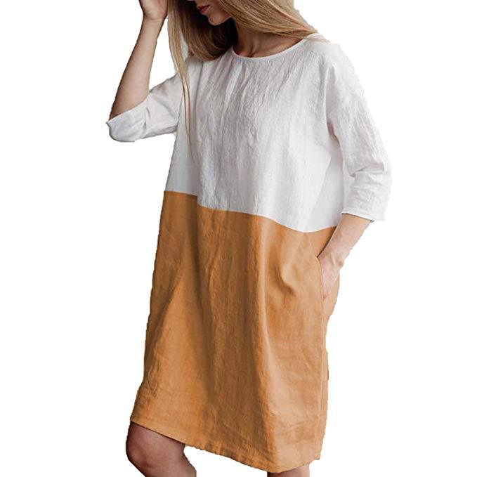 2018 Loose Cotton Linen Summer Dress Women Pockets Dress Patchwork