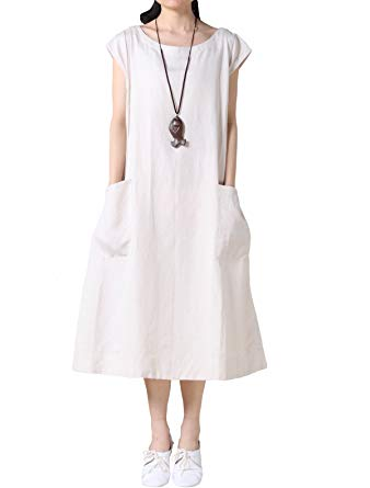 Mordenmiss Women's Cotton Linen Dresses Cap Sleeve Summer Dress with