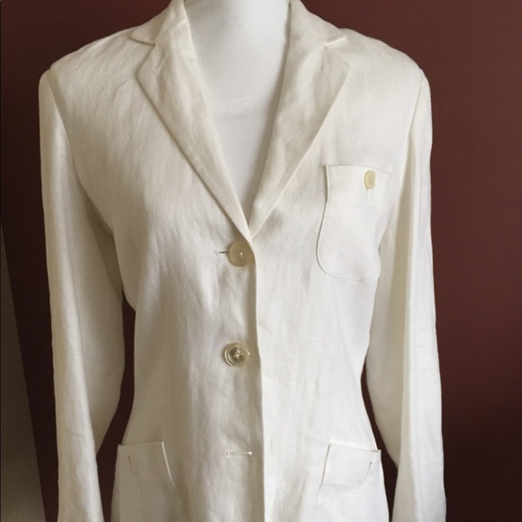 lauren ralph lauren Jackets & Coats | White Linen Blazer Jacket