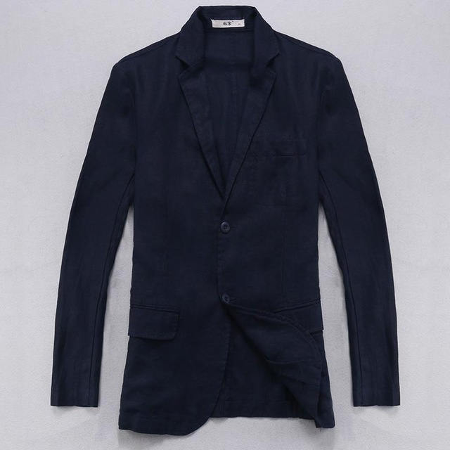 100% Linen jackets men long sleeved blazer men brand casual jacket