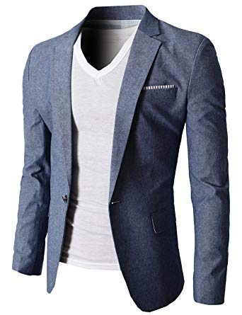 H2H Mens Slim Fit Suits Casual Solid Lightweight Blazer Jackets One