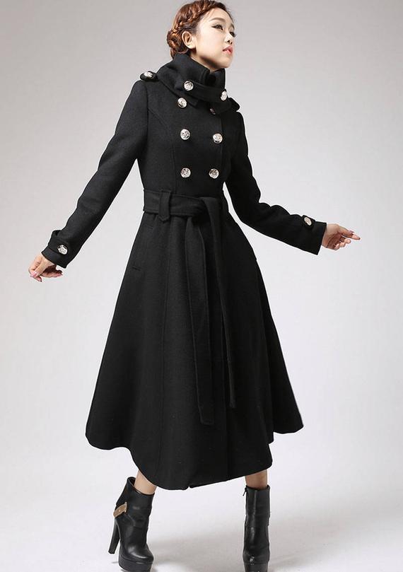 long black coat Trench coat military coat long coat black   Etsy