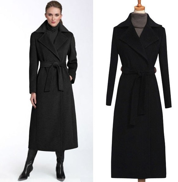 2017 New fashion black wool coat women's long wool trench coat plus