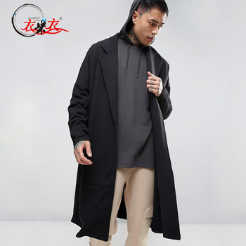 Black Long Wrap Wool Coat Drop Shoulder Trench Coat Men - Buy Trench