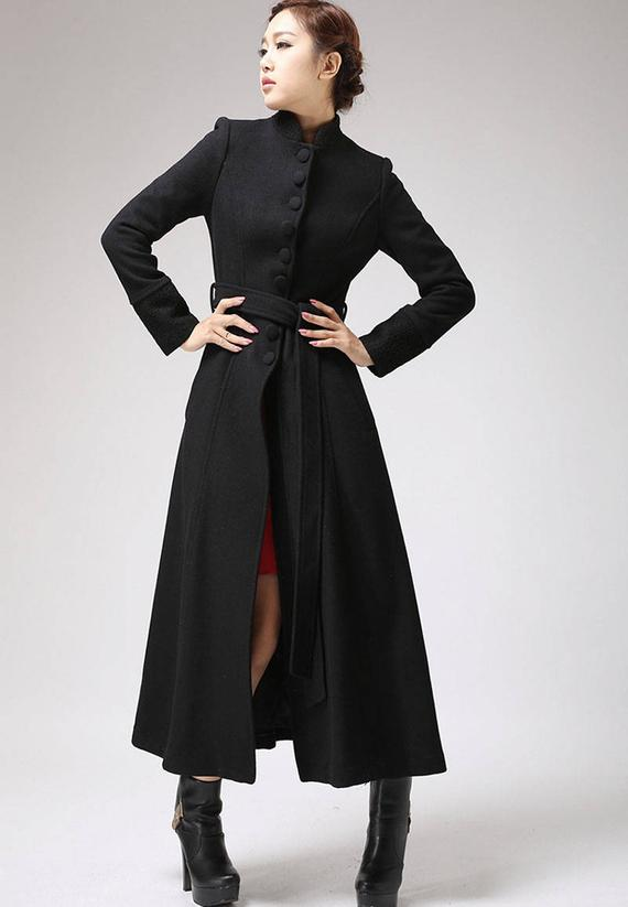 Choose long black coat as   evergreen stylish wear
