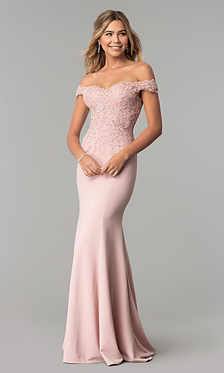 Off-the-Shoulder Long Formal Dress with Beaded Lace