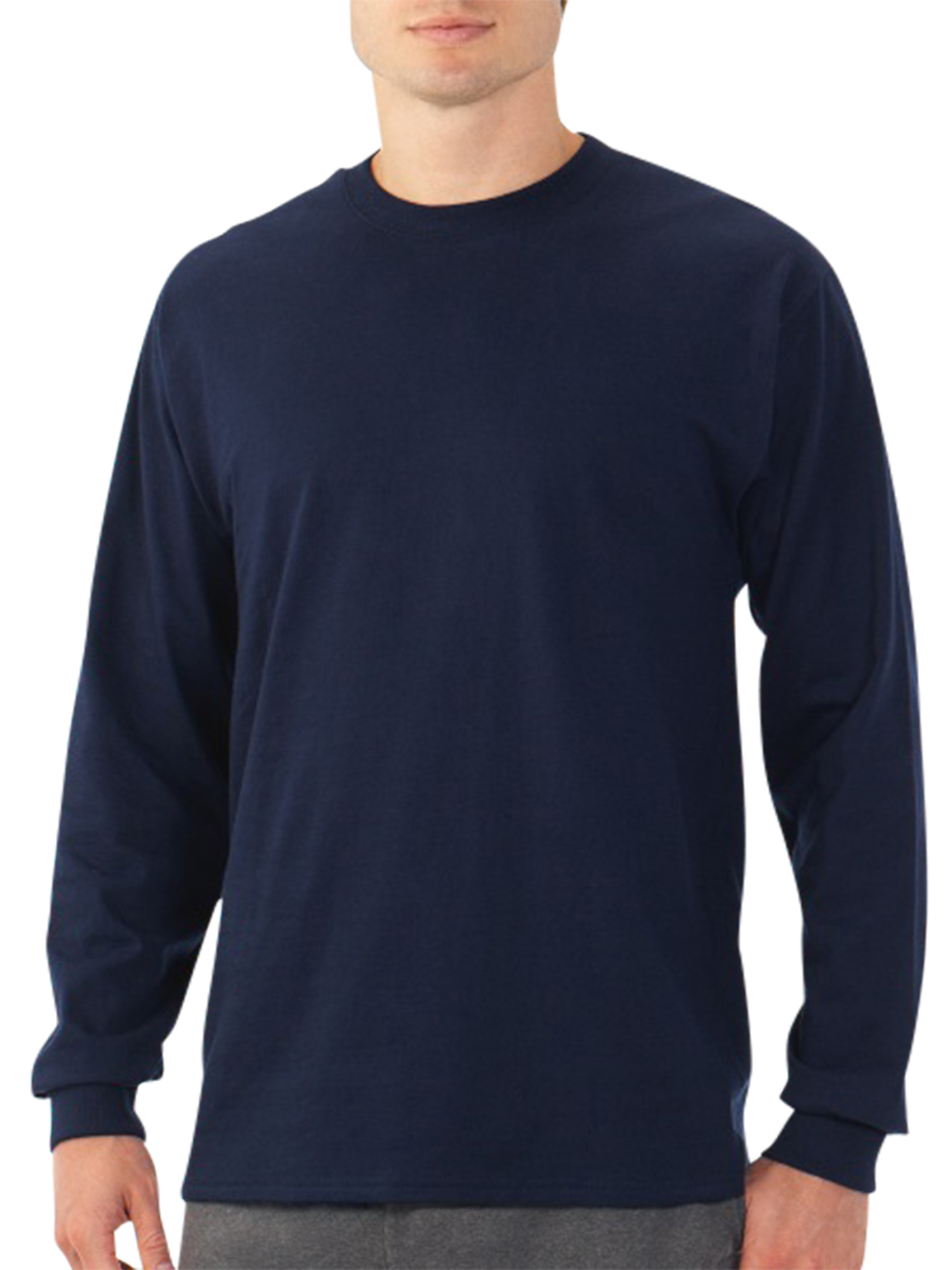Platinum Eversoft Men's Long Sleeve Crew T Shirt with Rib Cuffs, up