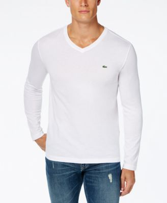 Lacoste Men's V-Neck Long Sleeve Jersey T-Shirt - T-Shirts - Men